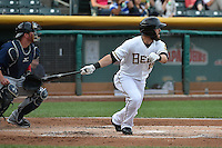 Matt Long (15) of the Salt Lake Bees at bat against the Reno Aces at Smith's Ballpark on May 4, 2014 in Salt Lake City, Utah.  (Stephen Smith/Four Seam Images)