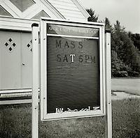Church bulletin board with fallen letters<br />