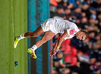3rd October 2021; AJ Bell stadium, Eccles, Greater Manchester, England: Gallagher Premiership Rugby, Sale v Exeter ;  Henry Slade of Exeter Chiefs kicks to make the score 10-10 at half time