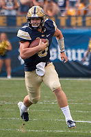 Pitt quarterback Kenny Pickett runs the ball. The Pitt Panthers football team defeated the Albany Great Danes 33-7 on September 01, 2018 at Heinz Field, Pittsburgh, Pennsylvania.