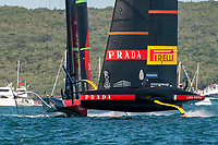 13th March 2021; Waitemata Harbour, Auckland, New Zealand;  Emirates Team New Zealand and  Luna Rossa Prada Pirelli Team in pre-start manouvers for race five on day three of the America's Cup presented by Prada.