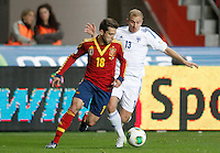 Spain's Jordi Alba (l) and Finland's Arkivuo during international match of the qualifiers for the FIFA World Cup Brazil 2014.March 22,2013.(ALTERPHOTOS/Acero)
