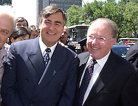 July 24 . 2002, Montreal, Quebec, Canada; <br /> <br /> Lucien Bouchard  Former Quebec Premier (L) with <br /> Bernard Landry actual Quebec Premier (R), at the funerals of Union leader Louis Laberge, July 24 2002 in Montreal,  Canada<br /> <br />  2002, Montreal, CANADA.