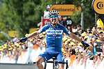 Julian Alaphilippe (FRA) Deceuninck-Quick Step storms to victory at the end of Stage 3 atop Cote de Mutigny and takes the Yellow Jersey of the 2019 Tour de France running 215km from Binche, Belgium to Epernay, France. 8th July 2019.<br /> Picture: Colin Flockton | Cyclefile<br /> All photos usage must carry mandatory copyright credit (© Cyclefile | Colin Flockton)