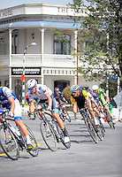 James Oram (yellow jersey) chases the pack through Martinborough during stage four of the NZ Cycle Classic UCI Oceania Tour in Wairarapa, New Zealand on Wednesday, 25 January 2017. Photo: Dave Lintott / lintottphoto.co.nz
