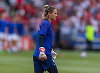 PARIS,  - JUNE 28: Ashlyn Harris #18 warms up during a game between France and USWNT at Parc des Princes on June 28, 2019 in Paris, France.