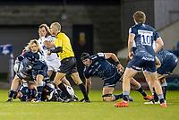 19th December 2020; AJ Bell Stadium, Salford, Lancashire, England; European Champions Cup Rugby, Sale Sharks versus Edinburgh; Faf de Klerk passes the ball to Robert du Preez of Sale Sharks