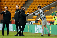 9th January 2021; Carrow Road, Norwich, Norfolk, England, English FA Cup Football, Norwich versus Coventry City; Norwich City Manager Daniel Farke celebrates the 2-0 win with Daniel Barden
