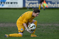 20150428 - VARSENARE , BELGIUM : Club Brugge's goalkeeper Lynn Senaeve pictured during the soccer match between the women teams of Club Brugge Vrouwen and Standard de Liege Femina , on the 24th matchday of the BeNeleague competition Tuesday 28 th April 2015 in Varsenare . PHOTO DAVID CATRY