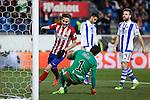 Atletico de Madrid´s Saul Niguez scores a goal to Real Sociedad´s goalkeeper Geronimo Rulli during 2015-16 La Liga match between Atletico de Madrid and Real Sociedad at Vicente Calderon stadium in Madrid, Spain. March 01, 2016. (ALTERPHOTOS/Victor Blanco)
