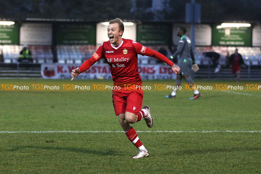 Liam Nash of Hornchurch scores the fifth and winning goal for his team and celebrates during Hornchurch vs Maidstone United, Buildbase FA Trophy Football at Hornchurch Stadium on 6th February 2021