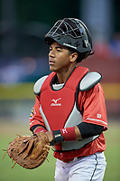 Batavia Muckdogs catcher Pablo Garcia (4) during a game against the West Virginia Black Bears on June 19, 2018 at Dwyer Stadium in Batavia, New York.  West Virginia defeated Batavia 7-6.  (Mike Janes/Four Seam Images)