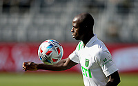 LOS ANGELES, CA - APRIL 17: Kekuta Manneh #23 of Austin FC ball watching during a game between Austin FC and Los Angeles FC at Banc of California Stadium on April 17, 2021 in Los Angeles, California.