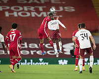 1st October 2020; Anfield, Liverpool, Merseyside, England; English Football League Cup, Carabao Cup, Liverpool versus Arsenal; Eddie Nketiah of Arsenalwins a header from Virgil van Dijk of Liverpool