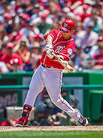 31 May 2014: Washington Nationals catcher Jose Lobaton connects in the 5th inning against the Texas Rangers at Nationals Park in Washington, DC. The Nationals defeated the Rangers 10-2, notching a second win of their 3-game inter-league series. Mandatory Credit: Ed Wolfstein Photo *** RAW (NEF) Image File Available ***