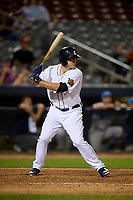 Connecticut Tigers right fielder Dayton Dugas (17) at bat during a game against the Hudson Valley Renegades on August 20, 2018 at Dodd Stadium in Norwich, Connecticut.  Hudson Valley defeated Connecticut 3-1.  (Mike Janes/Four Seam Images)