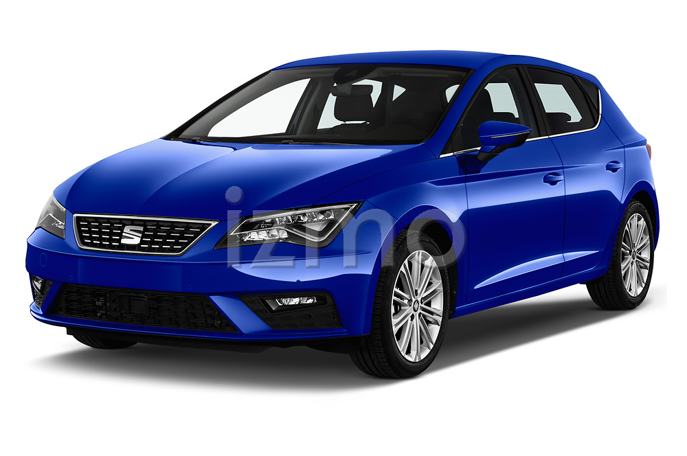 2018 Seat Leon Xcellence 5 Door Hatchback angular front stock photos of front three quarter view
