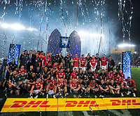 The teams pose for a joint photo after the 2017 DHL Lions Series rugby union 3rd test match between the NZ All Blacks and British & Irish Lions at Eden Park in Auckland, New Zealand on Saturday, 8 July 2017. Photo: Dave Lintott / lintottphoto.co.nz