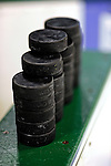 10 January 2009: A stack of hockey pucks lie ready for warm-ups prior to a game between the University of Vermont Catamounts and the Boston College Eagles for the second game of a weekend series at Gutterson Fieldhouse in Burlington, Vermont. The Catamounts rallied from an early 2-0 deficit to defeat the visiting Eagles 4-2. Mandatory Photo Credit: Ed Wolfstein Photo