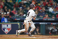 Marshall Gilbert (34) of the Mississippi State Bulldogs follows through on his swing against the Houston Cougars in game six of the 2018 Shriners Hospitals for Children College Classic at Minute Maid Park on March 3, 2018 in Houston, Texas. The Bulldogs defeated the Cougars 3-2 in 12 innings. (Brian Westerholt/Four Seam Images)