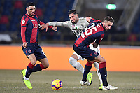 Emre Can of Juventus (c) compete for the ball with Roberto Soriano and Mitchell Dijks of Bologna <br /> during the Italy Cup 2018/2019 football match between Bologna and Juventus at stadio Renato Dall'Ara, Bologna, January 12, 2019 <br />  Foto Andrea Staccioli / Insidefoto