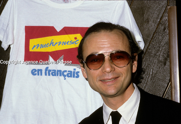 Montreal (Qc) CANADA - March 1986 - Mose Znaimer,  at the news conference to announce the french version of Much Music : Much Music en Francais later named Musique PLus,<br /> <br /> <br /> PHOTO :  Agence Quebec Presse