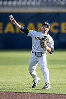 Michigan Wolverines second baseman Joe Pace (32) makes a throw to first base against the Central Michigan Chippewas on May 9, 2017 at Ray Fisher Stadium in Ann Arbor, Michigan. Michigan defeated Central Michigan 4-2. (Andrew Woolley/Four Seam Images)