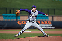 Western Carolina Catamounts relief pitcher Dylan Wheeler (14) in action against the Kennesaw State Owls at Springs Brooks Stadium on February 22, 2020 in Conway, South Carolina. The Owls defeated the Catamounts 12-0.  (Brian Westerholt/Four Seam Images)