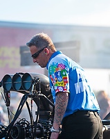 Oct 11, 2019; Concord, NC, USA; Aaron Brooks, crew chief for NHRA top fuel driver Justin Ashley during qualifying for the Carolina Nationals at zMax Dragway. Mandatory Credit: Mark J. Rebilas-USA TODAY Sports