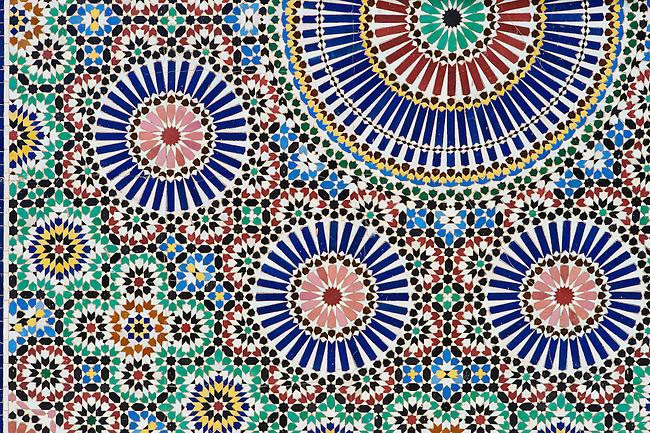 Berber Arabesque zallige tiles  of the Marrakesh museum in the Dar Menebhi Palace, Marrakesh, Morocco