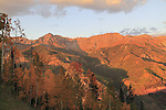 View from Telluride Mountain, San Juan Mountains at sunset, Colorado.