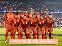 East Hartford, Connecticut - October 16, 2018: International friendly (Kickoff Series). U.S. Men's National Team (USMNT) (blue) tied Peru (red), 1-1, at Pratt and Whitney Stadium on Rentschler Field.