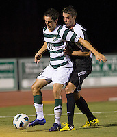 Number 8 ranked Charlotte beats number 16 ranked Coastal Carolina 1-0 on a goal by Thomas Allen in the 101st minute during the second overtime.  Tyler Gibson (10), Nick May (16)