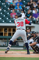 Christian Bethancourt (38) at bat against the Charlotte Knights at BB&T BallPark on August 11, 2015 in Charlotte, North Carolina.  The Knights defeated the Braves 3-2.  (Brian Westerholt/Four Seam Images)