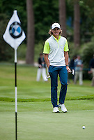 23.05.2015. Wentworth, England. BMW PGA Golf Championship. Round 3.  Tommy Fleetwood [ENG] on the 6th green during the third round of the 2015 BMW PGA Championship from The West Course Wentworth Golf Club
