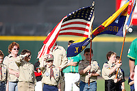 June 26, 2009:  The Boy Scouts present the flags for the national anthem before a game at Frontier Field in Rochester, NY.  Photo by:  Mike Janes/Four Seam Images