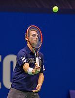 December 18, 2014, Rotterdam, Topsport Centrum, Lotto NK Tennis, Men's singles quarter final, Thiemo de Bakker(NED) <br /> Photo: Tennisimages/Henk Koster
