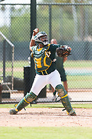 Oakland Athletics catcher Santis Sanchez (44) throws to second base during an exhibition game against Team Italy at Lew Wolff Training Complex on October 3, 2018 in Mesa, Arizona. (Zachary Lucy/Four Seam Images)