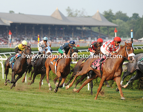 Banrock, center, wins his second straight West Point Stakes.