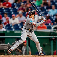 26 September 2018: Miami Marlins first baseman Derek Dietrich leads off the 6th inning against the Washington Nationals at Nationals Park in Washington, DC. The Nationals defeated the visiting Marlins 9-3, closing out Washington's 2018 home season. Mandatory Credit: Ed Wolfstein Photo *** RAW (NEF) Image File Available ***