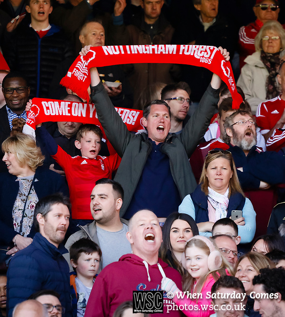 Nottingham Forest 3 Ipswich Town 0, 07/05/2017. City Ground, Championship. Forest fans before the game between Nottingham Forest v Ipswich Town at the City Ground Nottingham in the SkyBet Championship. Photo by Paul Thompson.