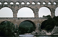 The Pont du Gard is an ancient Roman aqueduct that crosses the Gardon River near the town of Vers-Pont-du-Gard in southern France