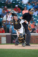 Michael Amditis (2) of the National team looks for a passed ball during Under Armour All-American Game presented by Baseball Factory on August 15, 2015 at Wrigley Field in Chicago, Illinois.  The National team defeated the American team 11-5.  (Mike Janes/Four Seam Images)