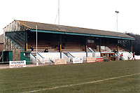 The main stand at Gosport Borough FC, Privett Park, Gosport, Hampshire, pictured on 21st February 1988