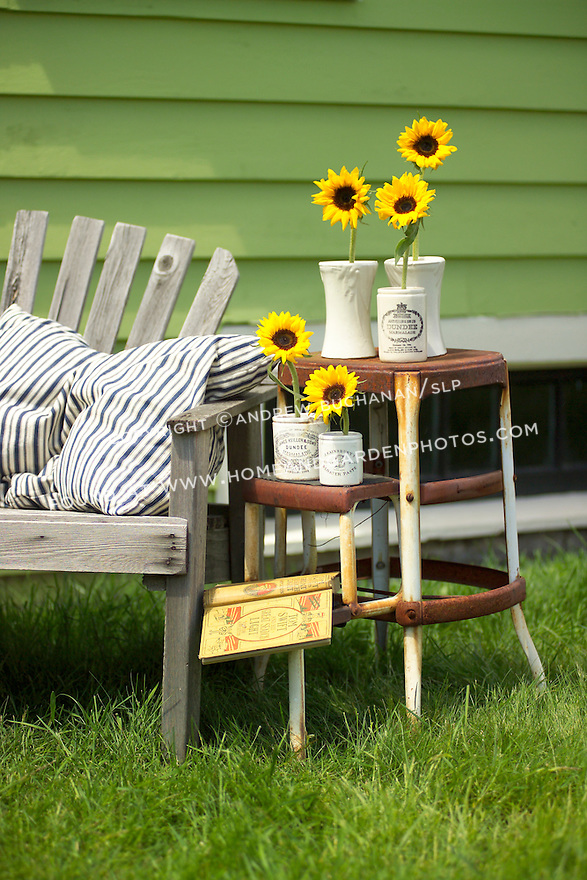 Sunflowers set in individual ceramic crocks sit outside with a book on an old, rusty, folding stepstool in a grassy lawn, backed by a wooden bench with a blue and white-striped ticking pillow, and a green-painted cottage behind, altogether make for a pleasant, summery, country setting.