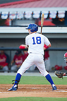 Logan Moon (18) of the Burlington Royals at bat against the Johnson City Cardinals at Burlington Athletic Park on July 14, 2014 in Burlington, North Carolina.  The Cardinals defeated the Royals 9-4.  (Brian Westerholt/Four Seam Images)