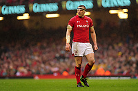 Pictured: Hadleigh Parkes of Wales during the Guinness six nations match between Wales and Ireland at the Principality Stadium, Cardiff, Wales, UK.<br /> Saturday 16 March 2019