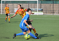Louisse Rillaerts (15) of Yellow Red KV Mechelen and Catho Hex (53) of KRC Genk  in action during soccer game between Yellow Red KV Mechelen Women and KRC Genk during Belgian Women's National Division 1 match  on day 2 of 2021-2022 season, on Saturday 4th of September  2021 in Mechelen , Belgium . PHOTO SEVIL OKTEM | SPORTPIX