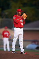 Auburn Doubledays pitcher Maximo Valerio (14) gets ready to deliver a pitch during a game against the Mahoning Valley Scrappers on September 4, 2015 at Falcon Park in Auburn, New York.  Auburn defeated Mahoning Valley 5-1.  (Mike Janes/Four Seam Images)
