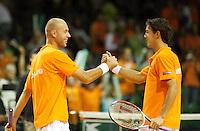 22-9-07, Netherlands, Rotterdam, Daviscup NL-Portugal, Dubbels, Peter Wessels en Jesse Huta Galung(l)